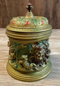 Painted-Pewter-Tobacco-Jar-Lion-Cherub-Gold-Red-Green-BKC