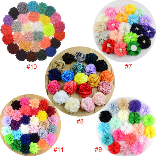Chiffon Flower Party Wedding Girl Child Hair Clothes Jewelry Pet Collar Bow DIY