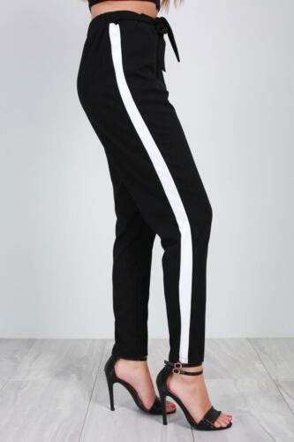 New Ladies Women Side Stripe Paper Bag Tie High Waisted Belted Cigratte Trousers