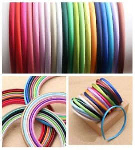 10 Plastic Headband Mixed Color Candy Covered Satin Hair Band 10mm for DIY Craft
