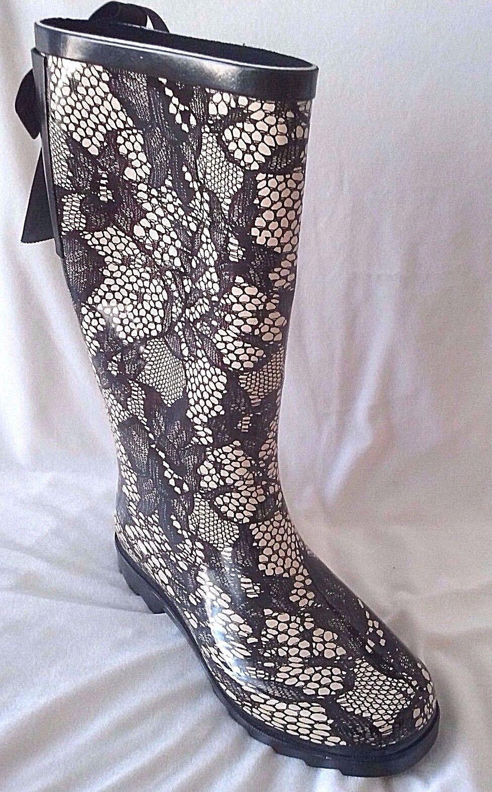 Corset Back Lace Print Vermont Rain Boots Treaded Sole HENRY FERRERA
