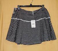 Free People Black White Women's Skirt Dress Flared Textured Zip 12 $98