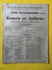 cinéma IDHEC fiche 120 Roméo et Juliette de Renato Castellani par G. Sluizer