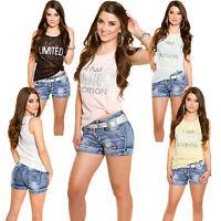 Damen Top Trägertop Shirt Strass Glitzer S M 36 38 Freizeit Mode Party T-Shirt