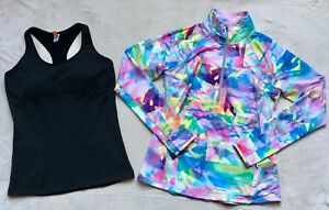 Lucy-Womens-Pastel-Abstract-Athletic-Jacket-Black-Racer-Back-Tank-LARGE-Long