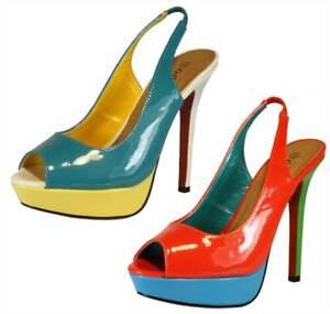 Womens-Patent-peeptoe-slingback-high-heels-coral-blue-summer-shoes-SALE