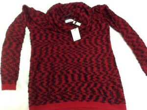 NWT Calvin Klein Women's Marled Red/Black Marled Knit Sweater Size ...