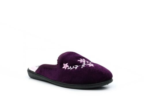 Womens Mule Slippers Ladies Mules Womens Mules Embroidered Burgundy Slip On Size