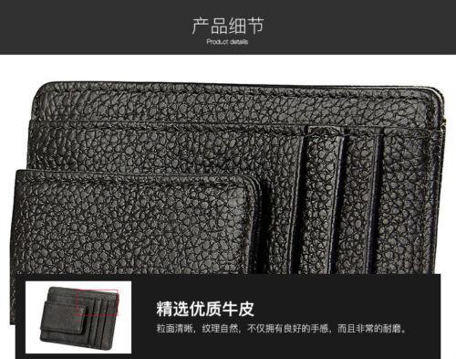 Top Genuine Leather RFID Blocking ID Credit Cards Holder mini hasp Wallet Purse