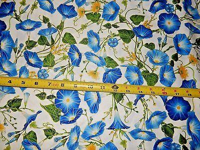 Morning Glory Flower Flowers Metallic Inlay CREAM CM4969 TT Cotton fabric