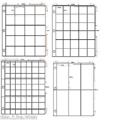 6 POCKET PAGES FOR 3 RING BINDER 50 x PLASTIC PVC CLASSIC MEDAL ALBUM SLEEVES
