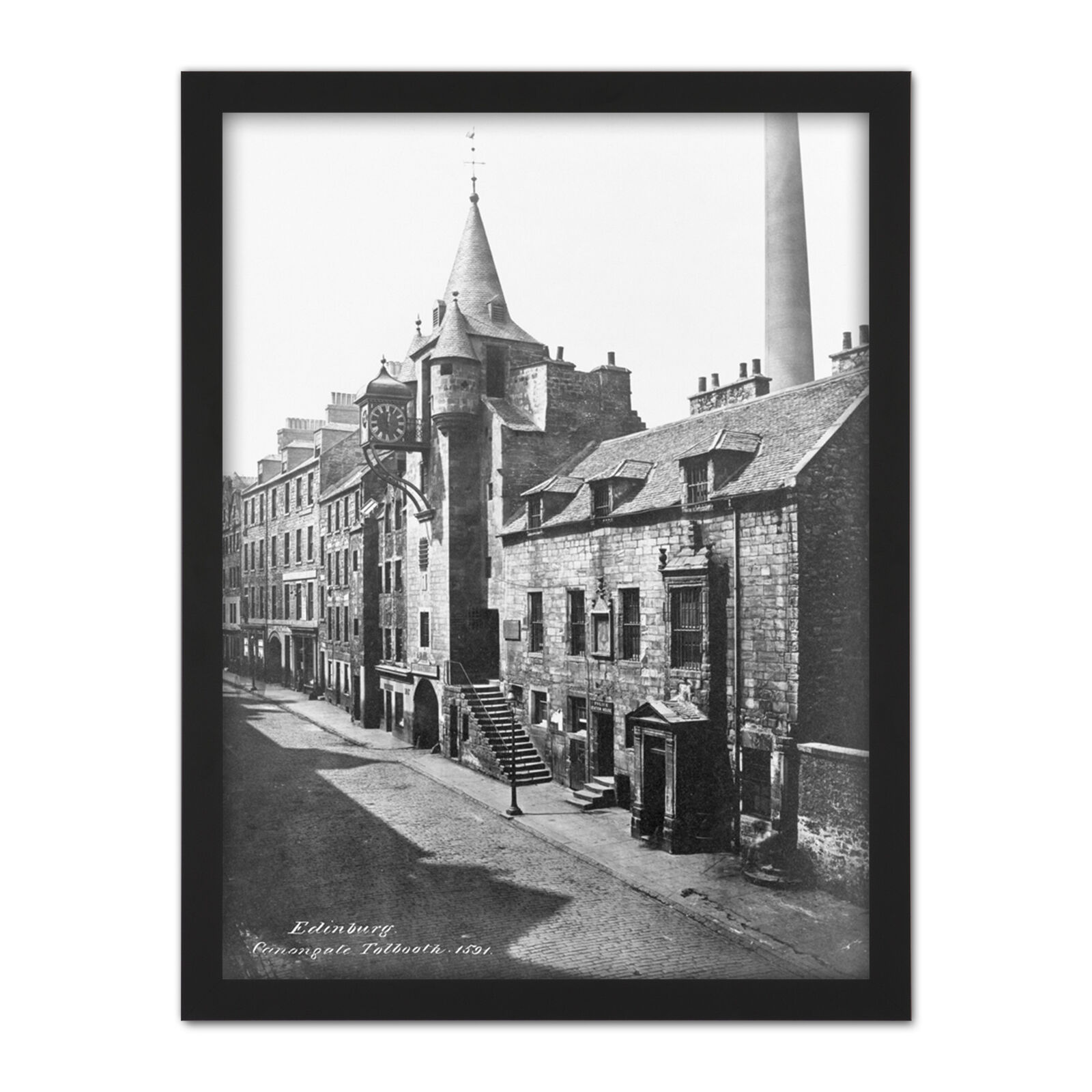 Edinburgh Scotland Canongate TolStiefelh 1860 Photo Framed Wand Kunst Drucken 18X24 In