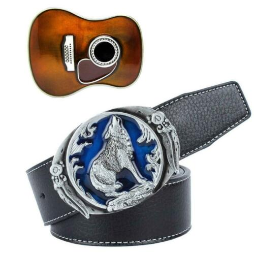 Vintage Belt Buckle Black Leather Straps Cowgirl Country Music Guitar 120cm