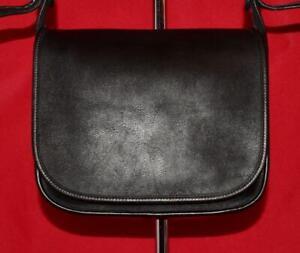 Vintage-COACH-Classic-Pouch-SADDLE-Black-Leather-Convertible-Flap-Purse-Bag-9170