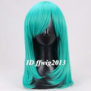 Teal green 50cm straight Cosplay wig +a wig cap