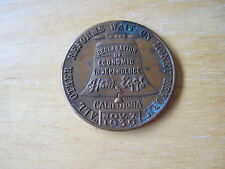 1939 Medal Ham & Eggs $30 a week for Life Political Movement CALIFORNIA