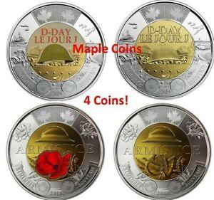 4-Canada-coins-2019-D-Day-amp-2018-Armistice-Color-amp-No-Color-Toonie-2-BU-UNC