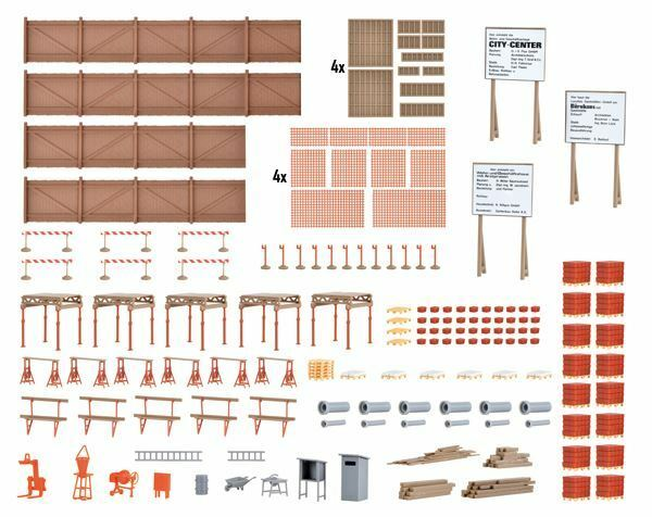 KIBRI 1 87 HO SCALE CONSTRUCTION SITE ACCESSORIES MODEL   BN   38538