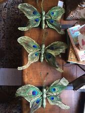 "(3/PACK) Natural Peacock Feather ~ Butterfly Ornaments w/hangers 11""X7"""