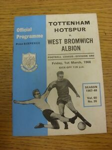01-03-1968-Tottenham-Hotspur-v-West-Bromwich-Albion-Light-Foxing-Rusty-Staple
