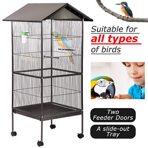 """New 61"""" Large Parrot Bird Cage Play Top Pet Supplies,Perch Stand Two Doors BC43"""