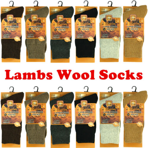 3 Pairs Mens Lambs Wool Boots Thermal Crew Socks Working Winter Warm Size 10-13