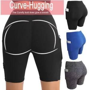 Women High Waist Yoga Shorts Pockets Butt Lift Cycling Biker Hot Pants Leggings