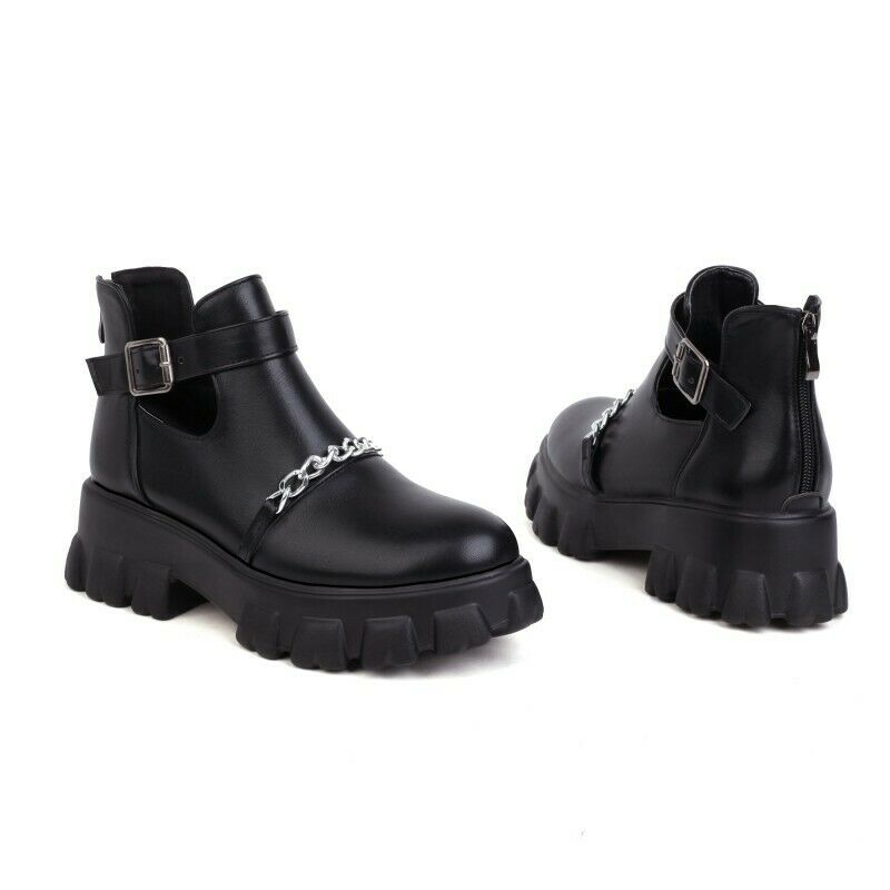 New Fashion Hollow Out Women Non-slip Creeper Heel Ankle Boots Gothic 44 45 46 L