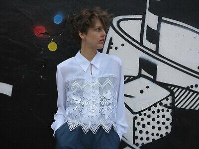 Glorioso Camicia Da Donna Bianchi Con Pizzo 90er True Vintage 90s Ladies Blouse White With Lace-mostra Il Titolo Originale Adatto Per Uomini E Donne Di Tutte Le Età In Tutte Le Stagioni