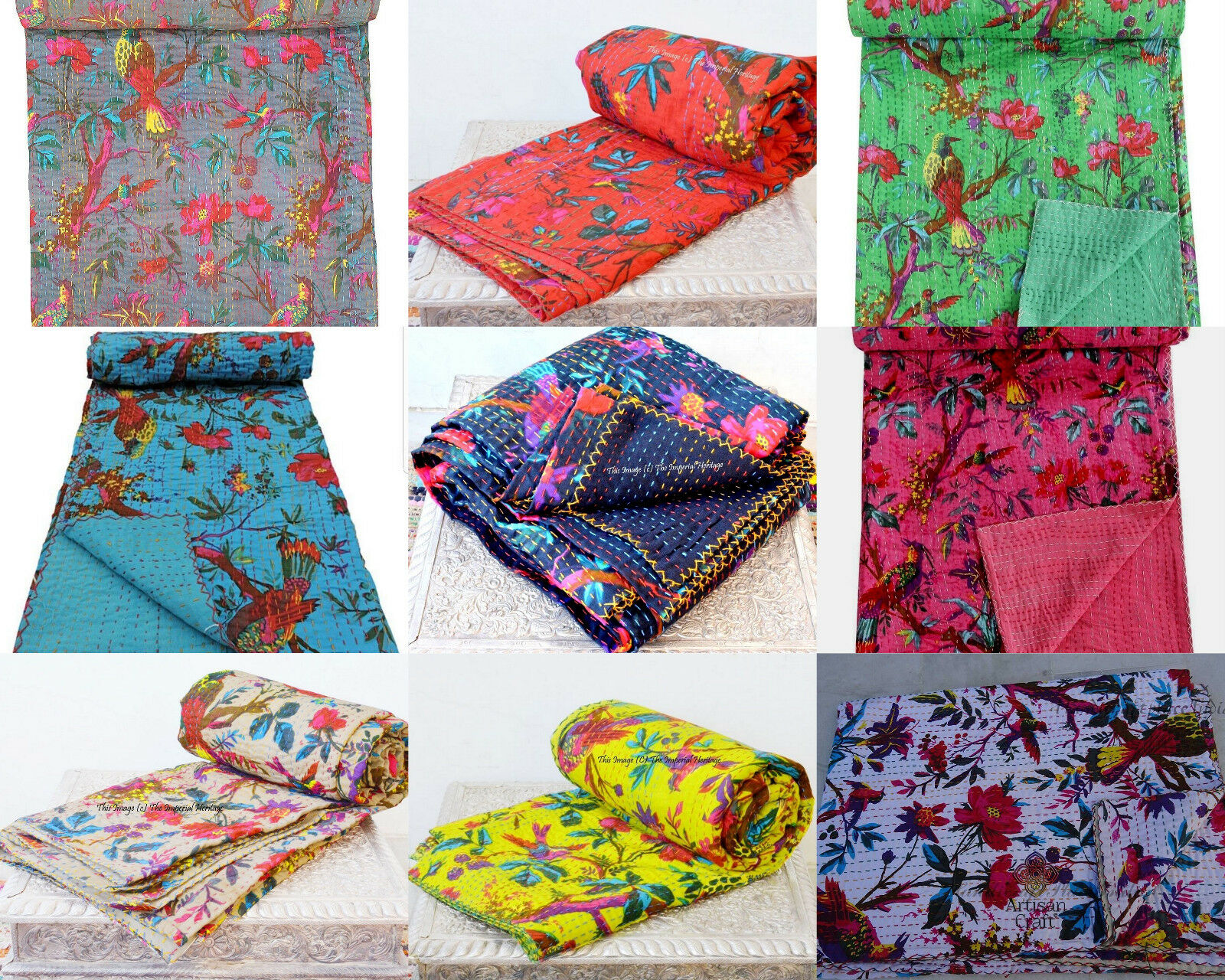 Indian Handmade Bird Kantha Floral Bed Cover,Twin Size Quilt Blanket Throw