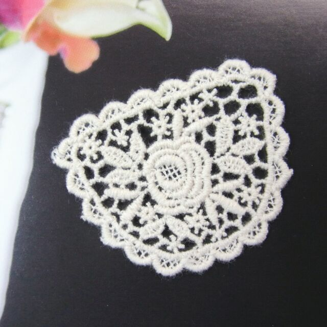 1yard Embroidery Cotton Fabric Crochet Lace Trim Cute Rose Motif Lace Ivory