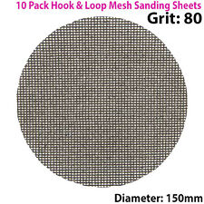 10x 80 Grit Silicon Carbide Mesh 150mm Round Sanding Discs –Hook & Loop Backing