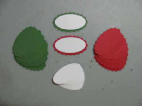 Stampin/' Up Christmas Real Red//Garden Green Scallop Oval//Smooth Oval Punches 40