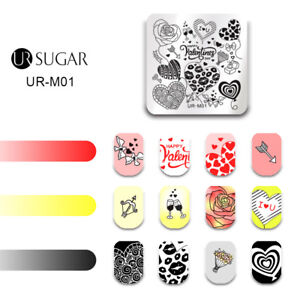 UR-SUGAR-Square-Nail-Stamping-Plates-Happy-Valentine-039-s-Day-Nail-Art-Templates