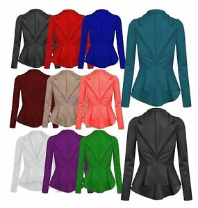 Women Long Sleeve Flared Frill Peplum Blazer Ladies 1 Button Slim Fit Jacket Top