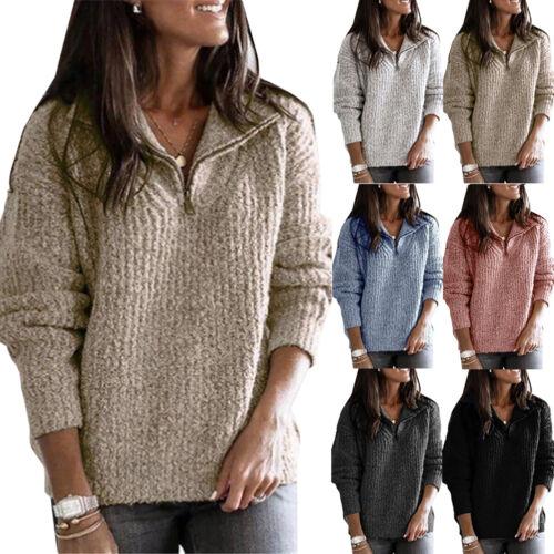 Women Ladies Casual Fleece//Knit Sweatshirts Quarter Zip Pullover Jumper Sweater