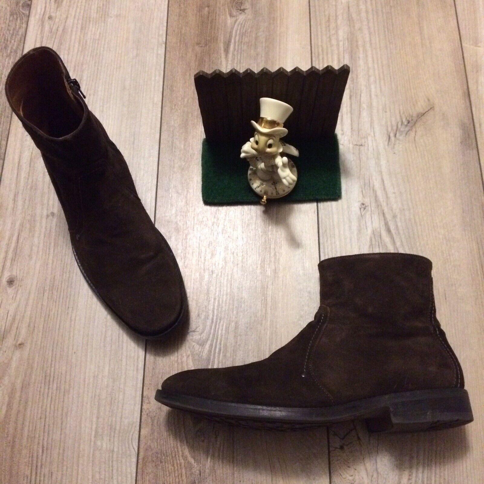 Johnson & Murphy Mens 10.5 Boots Desert Chukka Brown Suede Zip Side 59-11942