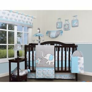 Image Is Loading Blue Gray Elephant 13 Pcs Crib Bedding Set