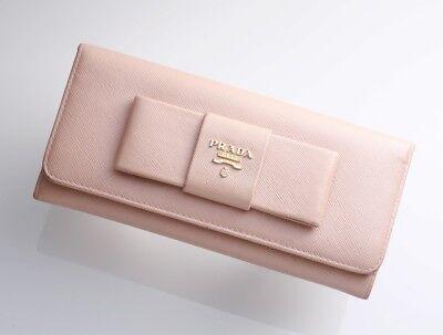 18f725ba H4129M Authentic PRADA Saffiano Ribbon Genuine Leather Bifold Long Wallet |  eBay
