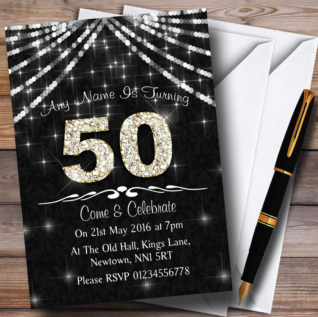 50e gris anthracite & blanc invitations Bling Sparkle birthday party invitations blanc personnalisées b7f5ad