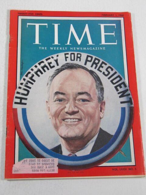 Time Magazine- February 1, 1960- Humphrey for President- Vintage
