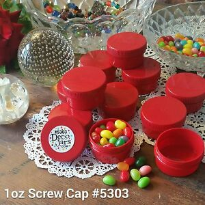 6 New 1 ounce Red Caps & Red Container Hummingbird Jars Drillable 5303 DecoJars