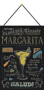 Margarita-Cocktail-Recipe-Recette-Plaque-avec-Cordon-Signe-en-Etain-Metal