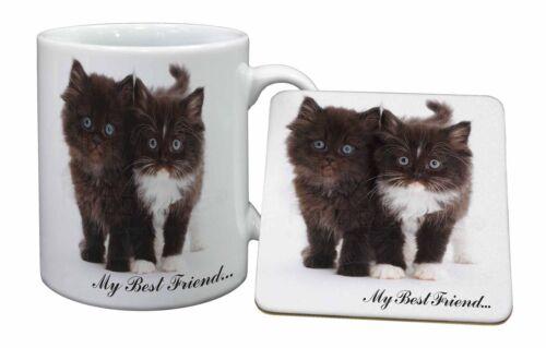 AC-148MC /'My Best Friend/' Mug+Coaster Christmas//Birthday Gift Idea Two Kittens