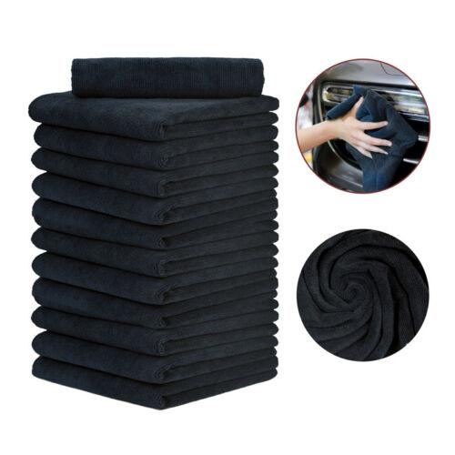 12 Pcs Edgeless Microfiber Towel No Tag No Scratch Professional  16X16 Black