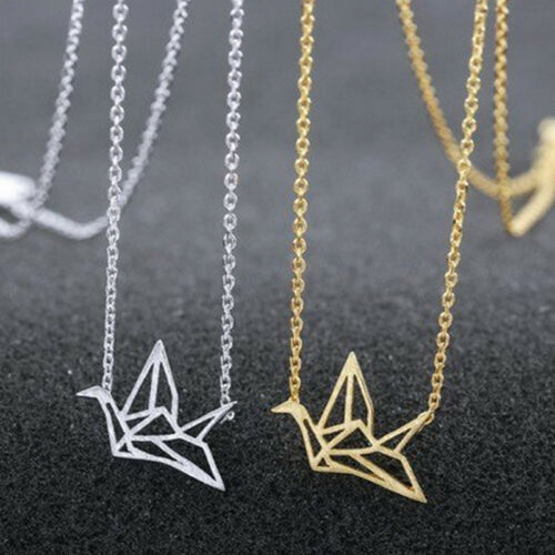 2019 Hot Gold//Silver Plated Origami Crane Bird Chain Pendant Necklace for Girls