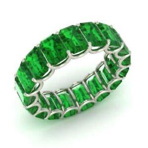 7.50 Ct Emerald Diamond Emerald Wedding Eternity Band 925 Sterling Silver Size 6