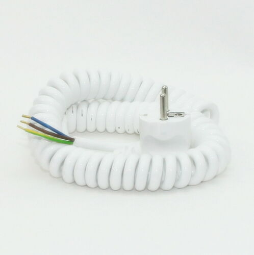 Spiralkabel Schutzkontakt Wendelleitung weiß 3x1,0 mm² dehnbar bis 2,5 Meter