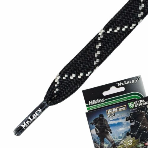 Laces for Hiking Mr Lacy Hikies Flat Black Super Strong high quality 150 cm