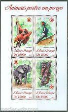 SAO TOME  2013 ENDANGERED SPECIES ELEPHANT LEMUR MONKEY BIRD  SHEET  MINT NH